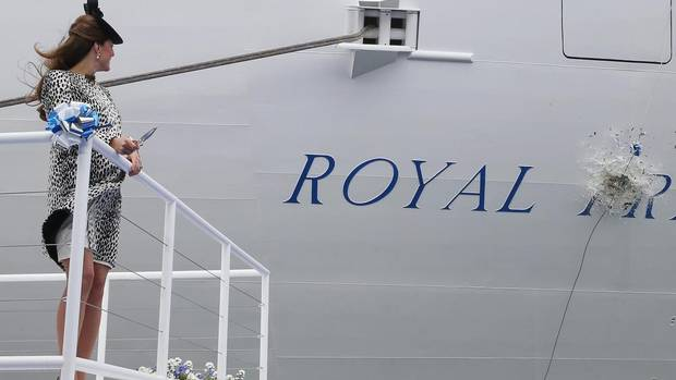 Britain's Catherine, Duchess of Cambridge, watches as a champagne bottle smashes into the Royal Princess cruise ship during the official naming ceremony on June 13, 2013, in Southampton, England. (Chris Jackson/AP)