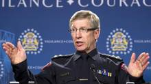 Calgary police chief Rick Hanson holds a press conference regarding the multiple fatal stabbing in Calgary on Tuesday, April 15, 2014. Legal experts argue that the tragedy should be investigated by an outside force in order to avoid perceptions of bias. (Larry MacDougal/THE CANADIAN PRESS)