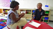 Mekhi Rutherford visits Ellen Fairclough Public School to meet his teacher, Darcie Sutherland, and see the classroom where he will be attending full day senior kindergarten this year. (Anne-Marie Jackson/ The Globe and Mail/Anne-Marie Jackson/ The Globe and Mail)