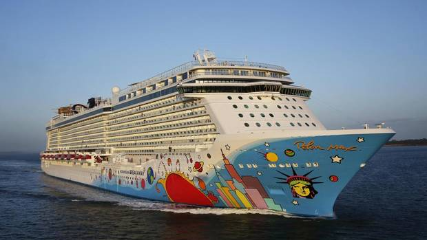 New York pop artist Peter Max painted the eye-popping design on the Breakaway's hull. Max has painted a Boeing 777, but this is his first ship. The design pays tribute to the ship's home port of New York.