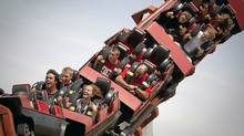This August 26, 2009 photo shows the Corkscrew roller coaster at Playland, one of the most popular rides in the nine-acre park. (JOHN LEHMANN/GLOBE AND MAIL)