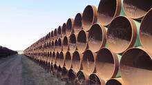 A yard in Gascoyne, N.D., which has hundreds of kilometres of pipes stacked inside it that are supposed to go into the Keystone XL pipeline, is shown on April 22, 2015. (Alex Panetta/THE CANADIAN PRESS)