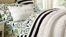 PBTeen's Ruched Quilt, $160, Ruched Standard Sham, $35, Dandy Dot Organic Sheet Set, from $70 through www.pbteen.com. (Handout/Handout)