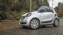 A Car2G Smart fortwo parked in the Vancouver area. (Brendan McAleer/The Globe and Mail)