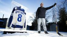 Tim Armstrong, at his Keswick, Ont., home, well remembers his first and only NHL goal, New Years Eve, 1988. The Toronto Maple Leafs, with whom he scored his lone marker, later charged him $100 to keep his No. 8 sweater. (PETER POWER/THE GLOBE AND MAIL)