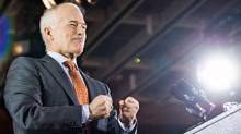 NDP Leader Jack Layton arrives to the podium on election night in Toronto on May 2, 2011. (Chris Young/THE CANADIAN PRESS)