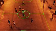 Players on the streets of Madrid make use of the Nike laser-beam football technology. (Nike Football Spain Facebook page)