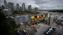 The price tag for the Vancouver Biennial's huge mural on Granville Island has climbed far beyond original estimates. (DARRYL DYCK/THE GLOBE AND MAIL)