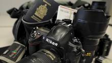 Photos of the camera and gear bags I use day to day in my job as a photographer for the Globe and Mail. A Domke F2 ballistic nylon bag that carries my digital gear. A Nikon D3, 50 1.4, 85 1.4, 24-70, 70-200, a Think Tank pixel pocket with bunch of 4gb cf cards, a Nikon SB800 flash, 5 or 6 batteries for the camera, some meds, pens, leather notebook and an up to date passport. (Fred Lum/The Globe and Mail) DIGITAL IMAGE (Fred Lum/Fred Lum/The Globe and Mail)