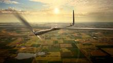 This undated image released by Titan Aerospace shows the company's Solara 50 aircraft. Facebook is in talks to buy Titan Aerospace, a maker of solar-powered drones, to step up its efforts to provide Internet access to remote parts of the world, according to reports released Tuesday, March 4, 2014. (AP/Titan Aerospace)