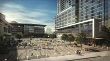 Surrey's tallest building and its first new hotel in 20 years will be butted right up to the SkyTrain station. The buildings of 3 Civic Plaza complex will face a public square.