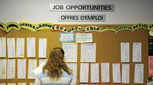 A job board at a youth employment agency in Toronto. (KEVIN VAN PAASSEN/THE GLOBE AND MAIL)