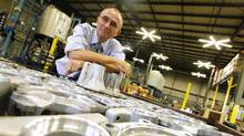 Marc Gauvin, founder and president of Aluminum Surface Technologies at his company's warehouse in Burlington, Ont. (Peter Power/Peter Power/The Globe and Mail)