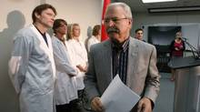 A file photo shows Agriculture Minister Gerry Ritz leaving a news conference after answering questions regarding an E. Coli outbreak, at the Canadian Food Inspection Agency (CFIA) Laboratory in Calgary, Oct. 3, 2012. (TODD KOROL/REUTERS)