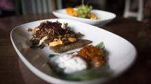 Gluten-free perogies are plumply filled with a sweet yam purée. The dough is made from buckwheat flour. (John Lehmann/The Globe and Mail)