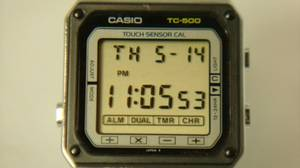 A Casio TC-500 touch screen calculator watch made in 1984.