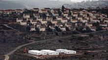 New prefabricated homes are seen under construction in the West Bank on Jan. 31, 2017. (THOMAS COEX/AFP/Getty Images)