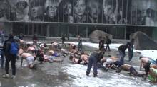 Screen grab from an amateur video of Ryerson students taking part in a bonding ritual in Toronto. Some have called the incident hazing and condemned it.