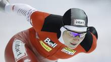 Canada's Kristina Groves competes during the women's 3000 meter races at the World Cup Speed Skating in Thialf stadium in Heerenveen, northern Netherlands, Saturday Nov. 13, 2010. Groves is cutting her season short after missing two months training due to a concussion. (PETER DEJONG)