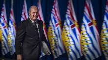 B.C. Finance Minister Mike de Jong leaves a press conference at the media lock-up Feb. 16, 2016, before the budget is tabled. (John Lehmann/The Globe and Mail)