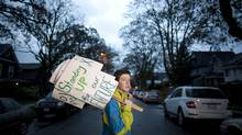 Sam Harrison, 16, who gave a presentation at the Northern Gateway hearings last week that has since gone viral, outside his home in Vancouver, Feb. 5. (Rafal Gerszak for the globe and mail)