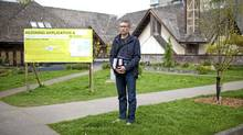 Brent Granby, president of the West End Residents Association, stands outside of St. John's Church yesterday. The property at 1401 Comox Street in the West End of Vancouver is the site of a proposed condo development. (Brett Beadle for the Globe and Mail)