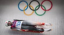 Alex Gough during her first run in Women's Luge Singles run finals at the Sochi Winter Olympics February 11, 2014. Gough finished 4th over all. (John Lehmann/The Globe and Mail)