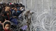 Migrants trapped in Greece gather at the Macedonian border on March 1, 2016. Frustrations have boiled over, with Macedonian police firing tear gas and migrants tearing down a gate in the barbed-wire fencing. (MARKO DJURICA/REUTERS)