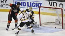 Boston Bruins defenceman Torey Krug watches a goal by Anaheim Ducks left wing Jamie McGinn during a game on March 18, 2016. Krug says he hates the plus/minus rating, calling it 'misleading.' (Lenny Ignelzi/The Associated Press)