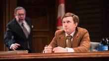 Christopher Hunt as John Crosbie and Philip Riccio as Joe Clark in the world premiere production of 1979 by Michael Healey. (Benjamin Laird)