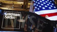 The Goldman Sachs logo is displayed on a post above the floor of the New York Stock Exchange, September 11, 2013. (LUCAS JACKSON/REUTERS)