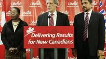 Sukh Dhaliwal, right, appears alongside former federal Liberal cabinet minister Joe Volpe in Vancouver in 2005. (Lyle Stafford/The Globe and Mail)