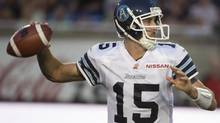 Toronto Argonauts' Ricky Ray, gets set to throw the ball down field during first half CFL action against the Montreal Alouettes in Montreal on August 8, 2013. (Peter McCabe/THE CANADIAN PRESS)