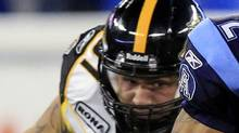 Hamilton Tiger-Cats' Jordan Matechuk during the first half of CFL football game in Toronto August 20, 2010. (MIKE CASSESE)
