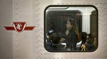 Commuters ride a TTC subway west from Kennedy Station in Scarborough, Ontario. (Kevin Van Paassen/The Globe and Mail)