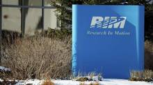 A sign of Research In Motion (RIM) is seen at its headquarters in Waterloo, Ont. (GEOFF ROBINS/REUTERS)