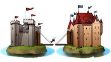 An illustration of a knight riding over a bridge between two castles. (Steven Hughes)