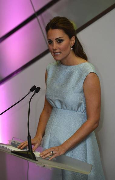 Britain's Catherine, Duchess of Cambridge speaks during an evening reception to celebrate the work of the charity The Art Room, of which she is a patron, at the National Portrait Gallery in London April 24, 2013. (TOBY MELVILLE/REUTERS)