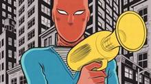 """Detail from the the cover of """"The Death-Ray"""" by Daniel Clowes"""