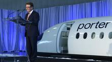 Robert Deluce, Porter's president and chief executive officer, announces the airline's plan to fly Bombardier C Series jets out of Billy Bishop Toronto City Airport. (Fred Lum/The Globe and Mail)