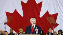 Canadian Prime Minister Stephen Harper speaks at a news conference in Richmond Hill, Ontario January 30, 2015. Canada's sweeping new anti-terror legislation would make it a crime for anyone to call for attacks on Canada and gives a much larger role to the government's main spy agency. REUTERS/Mark Blinch (CANADA - Tags: POLITICS CRIME LAW) (MARK BLINCH/REUTERS)