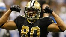 New Orleans Saints tight end Jimmy Graham (80) flexes following a first down against the Detroit Lions during the second half at the Mercedes-Benz Superdome. The Saints face the Titans in one of Sunday's key NFL matchups. John David Mercer-US PRESSWIRE (John David Mercer-US PRESSWIRE/John David Mercer)
