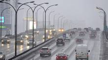 Traffic slows on the Gardiner near the CNE on Jan. 5, 2014. (J.P. MOCZULSKI FOR THE GLOBE AND MAIL)