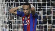 Spanish prosecutors are seeking a two-year prison sentence and a $10.6 million fine for Neymar on corruption charges because of alleged irregularities during his transfer from Brazilian club Santos to Barcelona, it was reported on Wednesday, Nov. 23, 2016. (Manu Fernandez/AP)