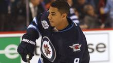 Winnipeg Jets forward Evander Kane(9) before the start of the game against the Montreal Canadiens at the MTS Centre. Mandatory Credit: Bruce Fedyck-US PRESSWIRE (Bruce Fedyck-US PRESSWIRE/Bruce Fedyck)