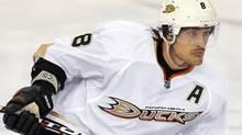 Anaheim Ducks' Teemu Selanne skates against the Edmonton Oilers during the second period of their NHL hockey game in Edmonton April 5, 2012. REUTERS/Dan Riedlhuber (Dan Riedlhuber/Reuters)