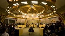 A photograph of the Nunavut legislature chambers in Iqaluit in the Nunavut Territory of Canada on Wednesday, April 1, 2009. The territory says almost one-third of the population are under the age of 15, twice the percentage as the Canadian average. (Nathan Denette/The Canadian Press)