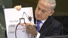 Prime Minister of Israel Benjamin Netanyahu draws a red line on a graphic of a bomb as he addresses the 67th United Nations General Assembly at the UN Headquarters in New York. (Lucas Jackson/Reuters)