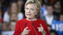 Democratic presidential candidate Hillary Clinton speaks at a campaign rally at Kent State University in Ohio on Oct. 31, 2016. (John Minchillo/AP)