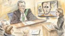 In this courtroom sketch Toronto neurosurgeon Mohammed Shamji, 40, makes a video appearance before Justice of the Peace Stephen Weisberg and Crown Prosecutor Liz Stokes, right, in court in Toronto on Tuesday, Dec. 20, 2016. (Alexandra Newbould/THE CANADIAN PRESS)